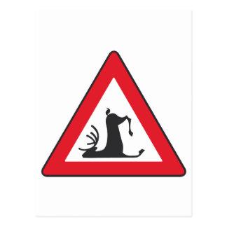 Stumbling Wildlife (Deer roadsign) Postcard