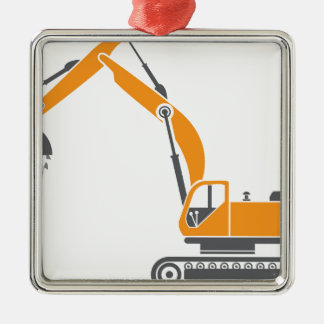 Stump and Stone Cutter Excavator Vector Metal Ornament