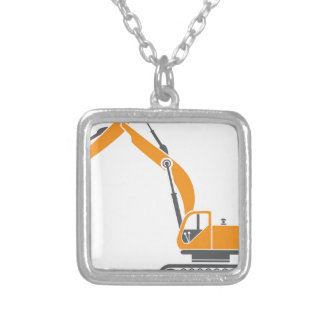 Stump and Stone Cutter Excavator Vector Silver Plated Necklace