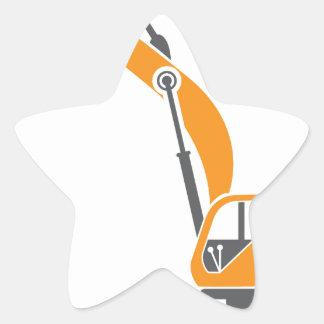 Stump and Stone Cutter Excavator Vector Star Sticker