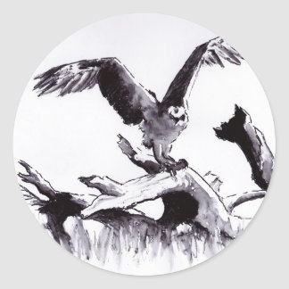 stumped hawk ink line & wash bird drawing classic round sticker