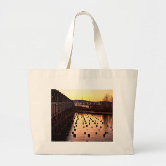 Stumps at the Pier Large Tote Bag