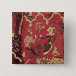 Stumpwork depicting Tristan and Isolde Pinback Button