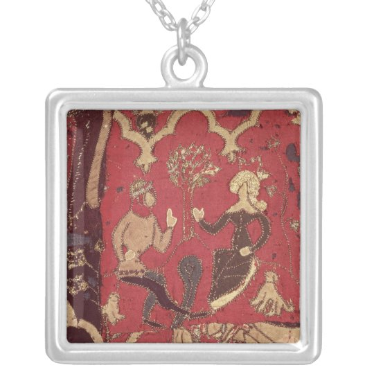Stumpwork depicting Tristan and Isolde Silver Plated Necklace