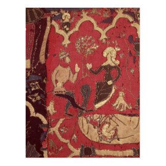 Stumpwork que representa Tristan y a Isolda Postales