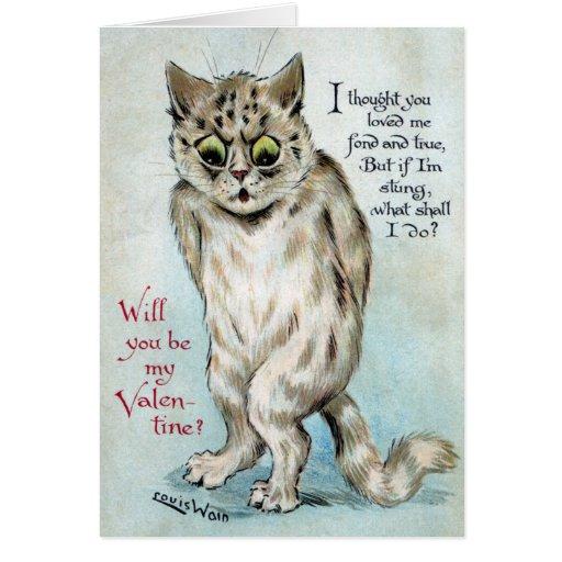 Stung Cat Vintage Valentine Card