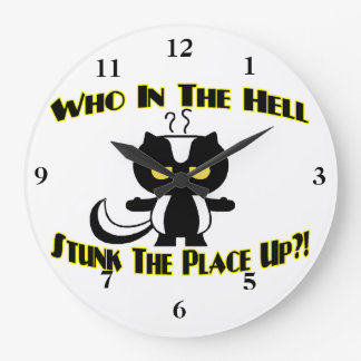 Stunk The Place Up Skunk Large Clock
