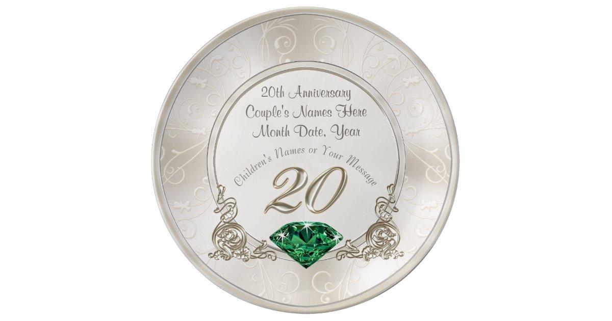 Stunning 20th Wedding Anniversary Gifts Plate Zazzle