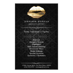 Stunning 3d Gold Lips Makeup Artist Beauty Salon Flyer at Zazzle