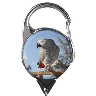 Stunning African Grey Parrot Badge Holder