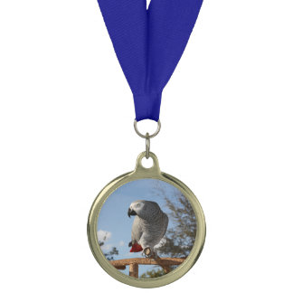 Stunning African Grey Parrot Medal