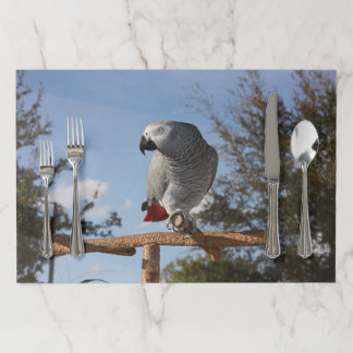 Stunning African Grey Parrot Paper Placemat