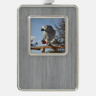 Stunning African Grey Parrot Silver Plated Framed Ornament