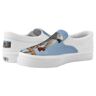 Stunning African Grey Parrot Slip-On Sneakers