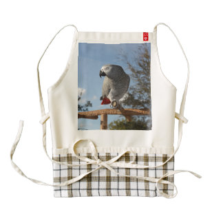 Stunning African Grey Parrot Zazzle HEART Apron