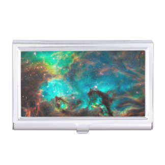 Stunning Aqua Star Cluster Case For Business Cards