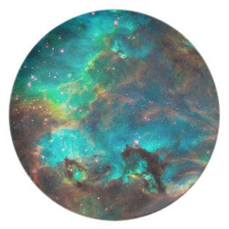 Stunning Aqua Star Cluster Dinner Plate