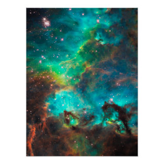 Stunning Aqua Star Cluster Poster