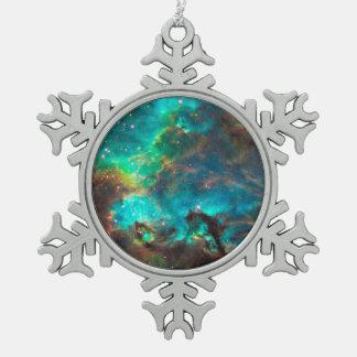 Stunning Aqua Star Cluster Snowflake Pewter Christmas Ornament