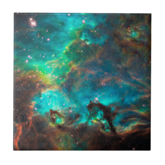 Stunning Aqua Star Cluster Small Square Tile