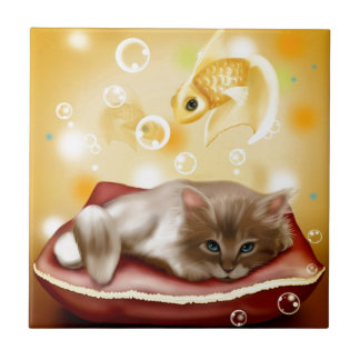Stunning artwork with sleepy cat and goldfish ceramic tile