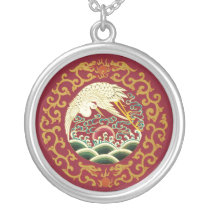 Stunning Asian Crane Art Necklace