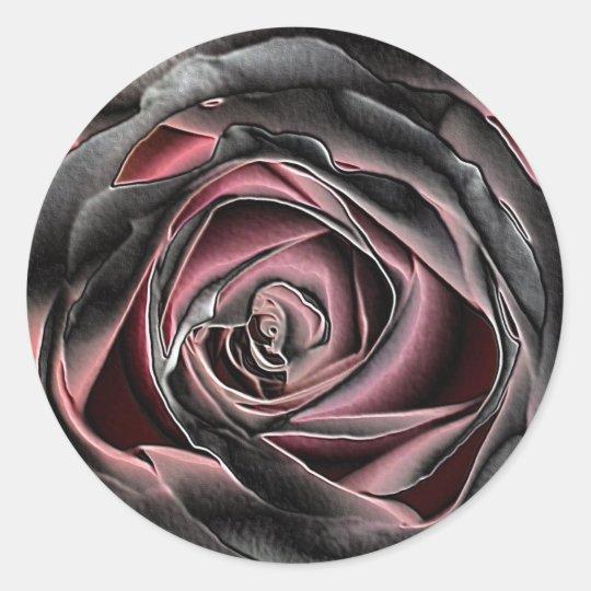 Stunning Black and Pink Rose Classic Round Sticker