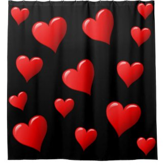Black and Red Hearts Shower Curtain