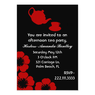 Stunning Black and Red Tea Party Invitation