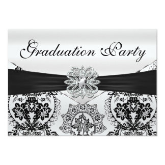 Stunning Black and Silver Damask Graduation Party 5x7 Paper Invitation Card