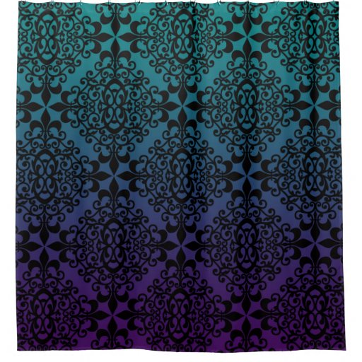 Teal And Black Shower Curtain
