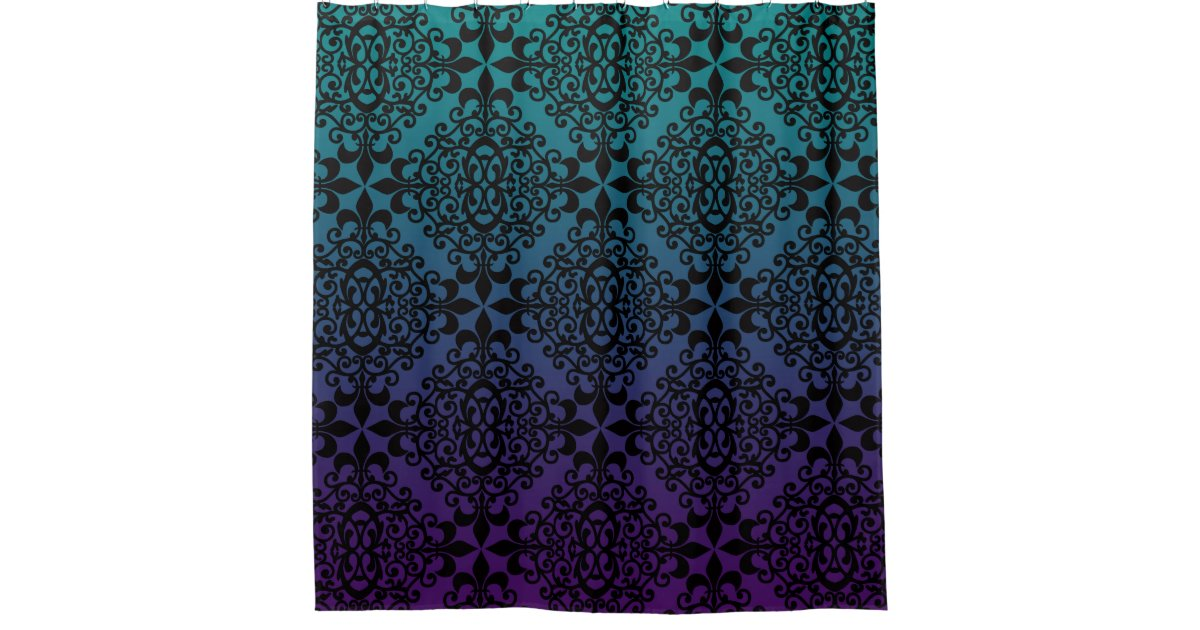 Stunning Black Teal And Purple Pattern Shower Curtain Zazzle