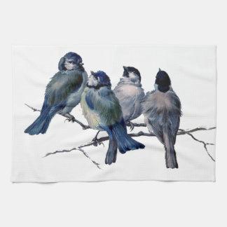 Stunning blue birds on branch vintage art - custom kitchen towel