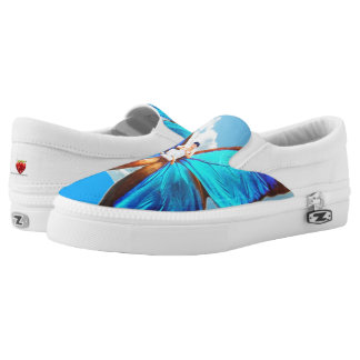 STUNNING BLUE BUTTERFLY SLIP ON FASHION SHOES PRINTED SHOES
