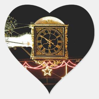 Stunning Clock at Xmas Heart Stickers