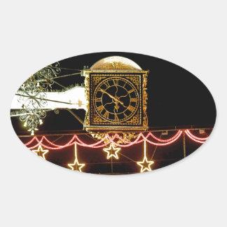 Stunning Clock at Xmas Oval Sticker