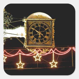 Stunning Clock at Xmas Square Stickers