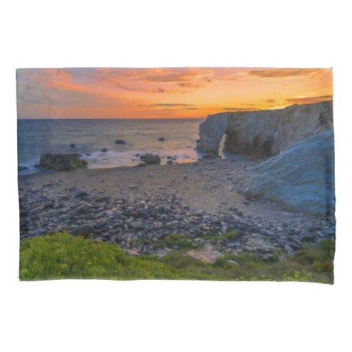Stunning Coastal Rocky Beach Sunset Overlook Pillow Case