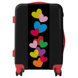 Colorful Hearts on Black Suitcase
