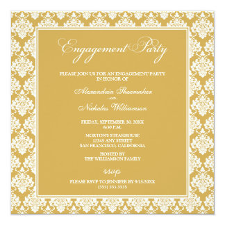 "Stunning Damask Engagement Party Invite (gold) 5.25"" Square Invitation Card"