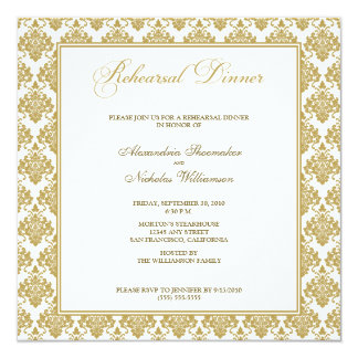"Stunning Damask Rehearsal Dinner Invite (gold) 5.25"" Square Invitation Card"