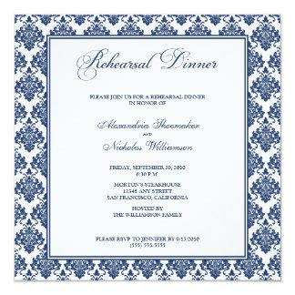 "Stunning Damask Rehearsal Dinner Invite (navy) 5.25"" Square Invitation Card"