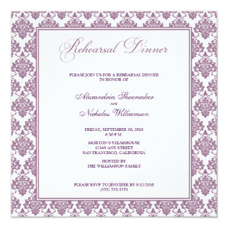 "Stunning Damask Rehearsal Dinner Invite (purple) 5.25"" Square Invitation Card"