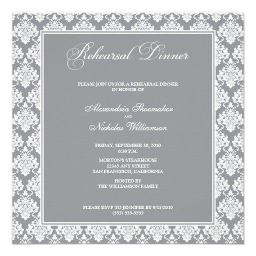Stunning Damask Rehearsal Dinner Invite (silver)