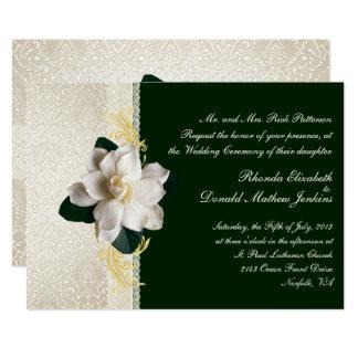 Stunning Dark Green & Ivory Gardenia Wedding Card