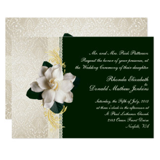Stunning Dark Green & Ivory Gardenia Wedding Invitation