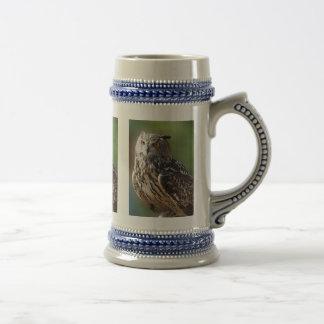 Stunning Eagle Owl with Orange Eyes Beer Stein