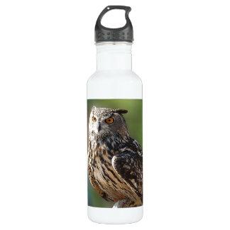 Stunning Eagle Owl with Orange Eyes 24oz Water Bottle
