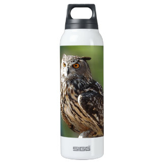 Stunning Eagle Owl with Orange Eyes 16 Oz Insulated SIGG Thermos Water Bottle