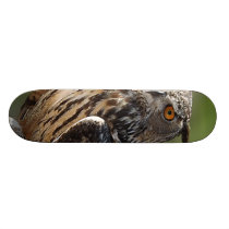 Stunning Eagle Owl with Orange Eyes Skateboard Deck